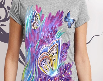 T-shirt. Butterfly on lavender.Hand-made.Gift.Painting.Summer.