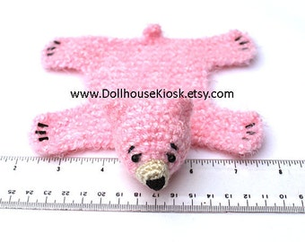 Dollhouse Miniature Knitted Bear Skin Rug - Light Pink - Limited Edition