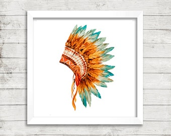 Tribal wall art, wall decor, Native American head-dress, feathers, native, tribal print