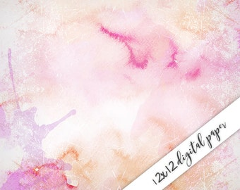 Pink Digital Paper, Watercolor, 12x12, Watercolor Digital Background, Commercial Use ok