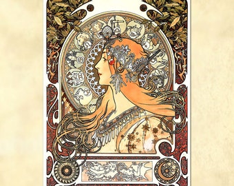 Alphonse Mucha – Zodiac Panneau - Art Nouveau Poster - vintage - antique repro digital download