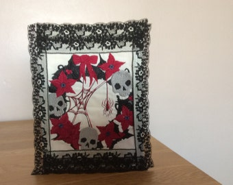 Gothic machine embroidered, handmade Christmas card, Skulls and cobwebs Christmas card, Macabre keepsake card