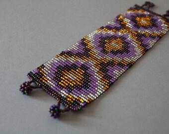 Aztec Style Geometric Pattern Beaded Cuff Bracelet