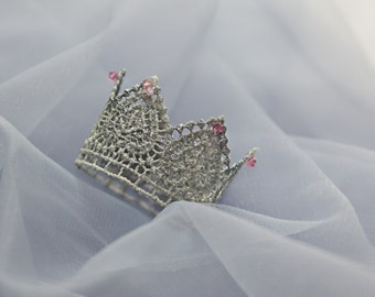 Silver crown with Pink Crystals