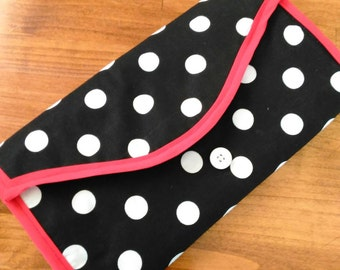 Polka Dots & Red: A Changing Station Clutch - Changing Pad - Diaper Bag - Wipe Clean Changing Pad - Stylish Mom