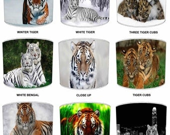 Tiger Cat Animals Childrens Lamp shades, To Fit Either a Table Lamp base or a Ceiling Light Fitting.