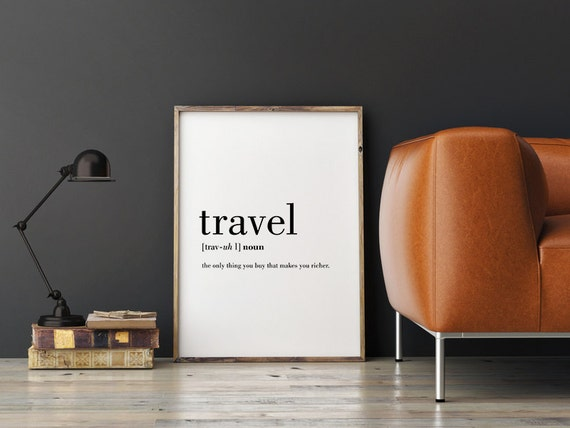 Travel Definition Printable Travel Quote Word Poster by ...