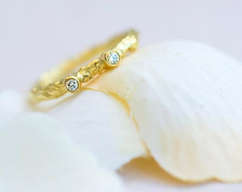 Diamond Twig Ring~Twig Engagement Ring~Modern Engagement Ring~Unique Diamond Twig Band~Brilliant Diamond Ring, Alternative Engagement Ring
