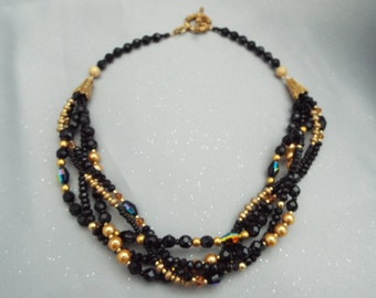 Multi Strand Swarovski Crystal and Pearl Black and Gold Necklace