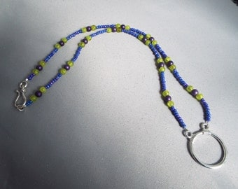 Blue, Purple and Lime Eyeglass Necklace