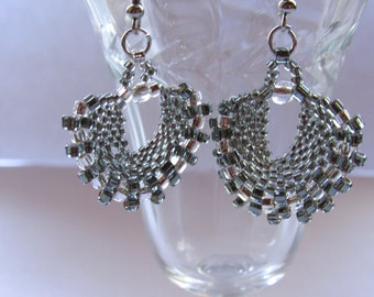 glass beaded fan earrings