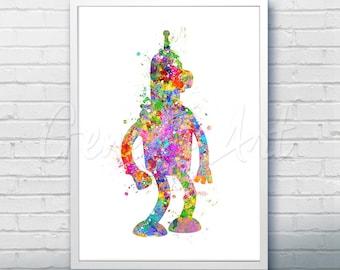 Futurama Bender Watercolor Art Poster Print - Wall Decor - Watercolor Painting - Watercolor Art - Kids Decor- Nursery Decor