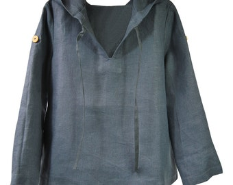 Handmade Linen Top with Hood in Dark Grey