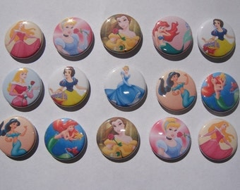 Disney Princesses Buttons Set of 15