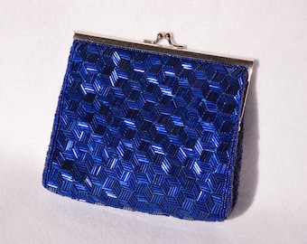 REDUCED!  Inge Christopher, Deep Purple-Blue and Silver, Clutch Handbag.  FREE Shipping!