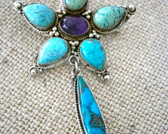 Star Turquoise/Amethyst Sterling Brooch