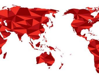 World Map-Geometric Red