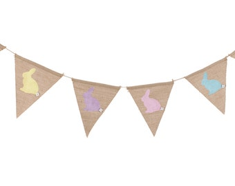 Easter bunting, bunny bunting Easter garland, kids Easter party decor, Bunny bunting, Easter egg hunt, hessian bunting