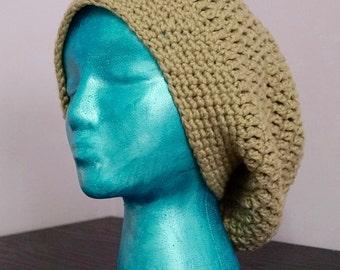 Tan Crochet Super Slouchy Hat