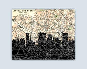 Birmingham UK Print, Birmingham Skyline, Birmingham Art Print, Birmingham Decor, Personalized Skyline Print, Birmingham Map