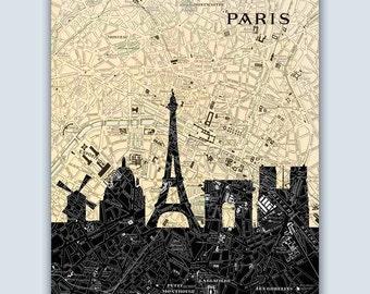Paris Skyline, Paris Art Print, Paris Poster, Personalized Skyline Print, Paris Map, Paris Wall Art, Paris Decor, Wedding Gift, Paris France