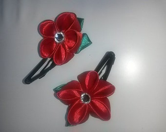 """2 hairclips kanzashi """"Red flowers"""""""