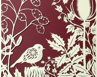 Bird papercut - Robin in Winter Foliage  - print from an original handmade art work.