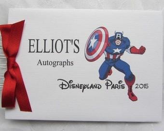 Personalised  Superhero/ MARVEL / Captain America / Autograph book/ Guest Book / Scrapbook Memory Album