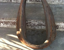 Vintage antique primitive horse yoke leather harness 1800s barn decor country homeart