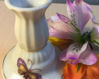 Lefton China Butterfly Candlestick Holder, Vintage Lefton Candlestick Holder - Japan