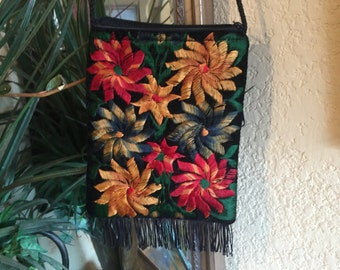 Vintage Black Velvet Embroidered Cross Body Bag, Hippie Floral Pouch