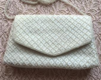 Vintage La Regale White Beaded Evening Bag/Clutch, White Seed Beads Evening Bag, Beaded Wedding Bag