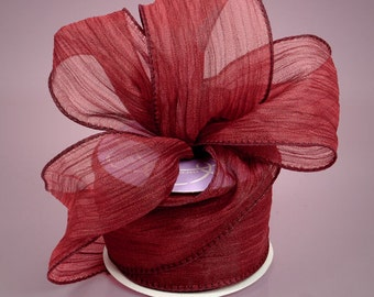 "Wide Creped Wire Ribbon in Maroon  2-1/2"" wide  10 yards per roll"
