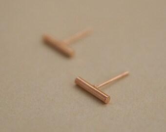 tiny stud earrings - bar earrings - stick earrings - rose gold bar earrings - minimalist studs - minimal earrings - gift for her under 10