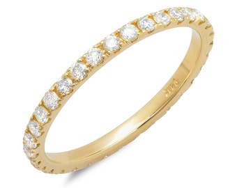 Yellow Gold Eternity Band, Anniversary Ring, Diamond Wedding Ring, Yellow Gold 14k, 18k