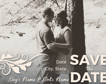 Save the Date- Wedding Invitations- Custom Save the Date Cards- Digital File