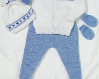Baby Jacket,Leggings,Hat and Mitts.0 to 2 years. Knitting Pattern.