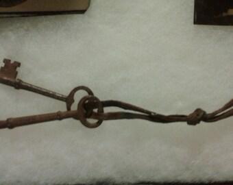 antique skeleton keys pair