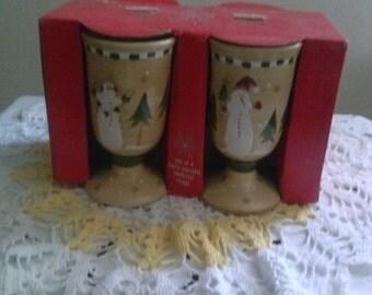 Sonoma* Hand Painted* Christmas Snowman Pedestal Mug Set of Four (4) Still In Box.