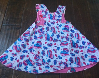2T reversible pinafore / reversible dress / toddler smock / toddler beach cover up