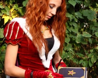 Red medieval queen princess wizard dress with cloak and gloves