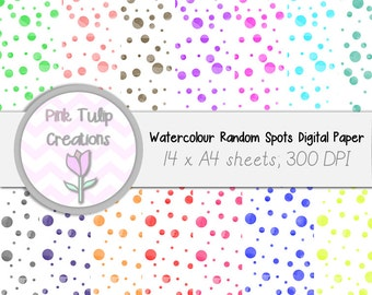 A4 Clip Art Backgrounds- Random Watercolor Spots x 15