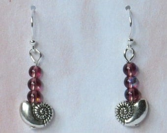 Silver plated nautilus shell earrings