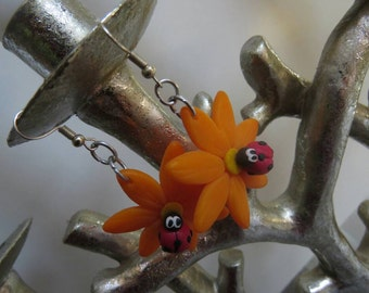 Orange flower Ladybug earrings
