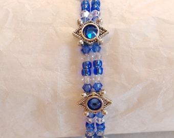 """Blue Crystal Bracelet, 7"""""""