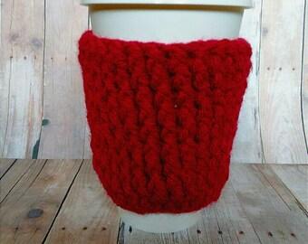 Red Coffee Cozy, Burgandy Cozy, Crochet Cozy, Coffee Cozy, Coffee Sleeve, Mug Cozy, Cup Cozy, Coffee Sweater