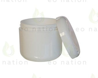 8 oz White Double Walled Cream Jar with Dome Lid