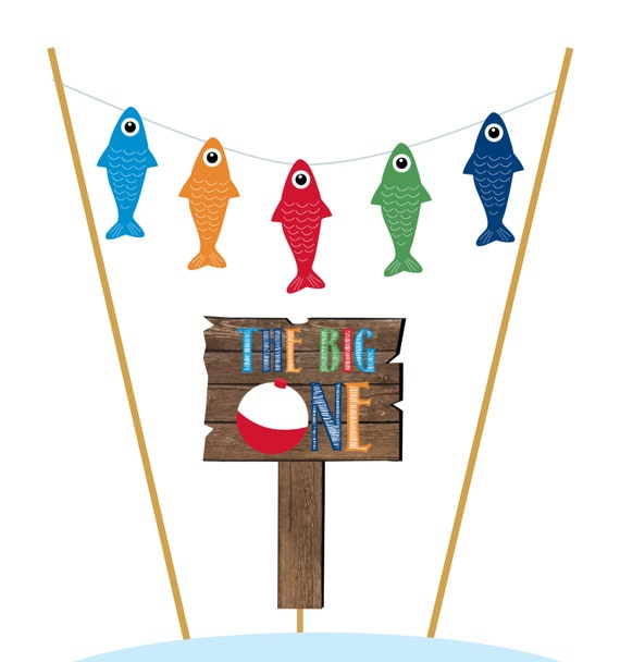 Gone Fishing Birthday Cake Topper // Smash by ...