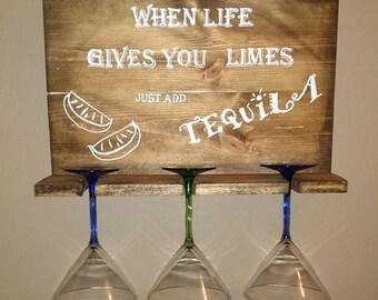 3 Margarita glasses display sign