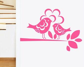 Patterned Flower Birds on Tree Branch Wall Sticker - Girls Art Vinyl Decal Transfer - by Rubybloom Designs